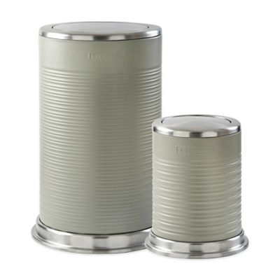 Typhoon® Ripple Kitchen Trash Cans in Stone (Set of 2)