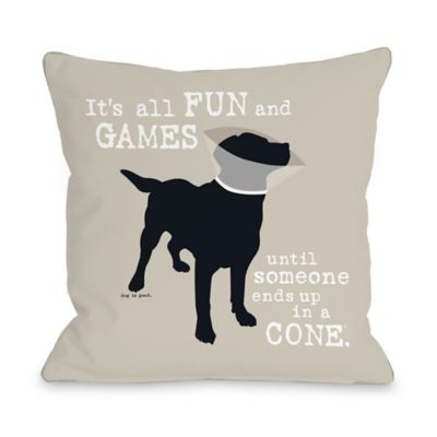"Dog is Good® ""It's All Fun and Games"" Oatmeal Throw Pillow"