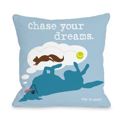 "Dog is Good® ""Chase Dreams"" Blue Throw Pillow"