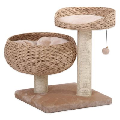 Pet Pals Recycled Paper Rope 2-Tier Cat Lounger with Sisal in Tan