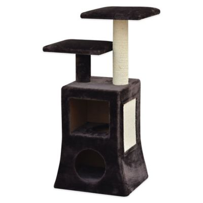 Pet Pals Modern 2-Tier Cat Condo with Fleece and Sisal in Brown/White