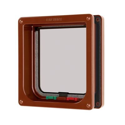 4 Way Locking Cat Flap with Door Liner in Brown