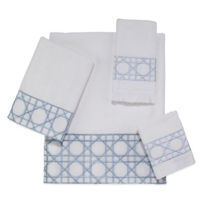 Avanti Chalet Fingertip Towel in White/Mineral Blue
