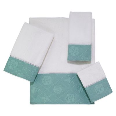 Avanti Shell Trellis Fingertip Towel in White/Mineral
