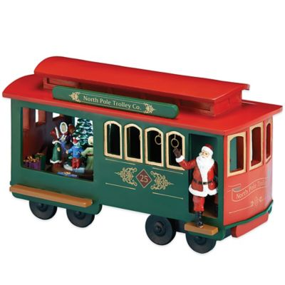 Roman Holiday Santa's Trolley Car Musical Figure