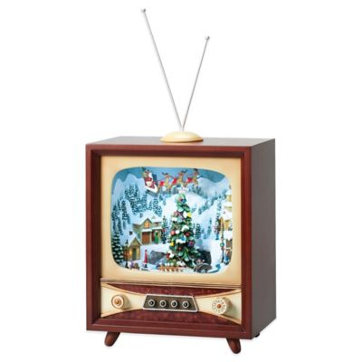 Roman Retro TV with Ice Skaters Musical Figure