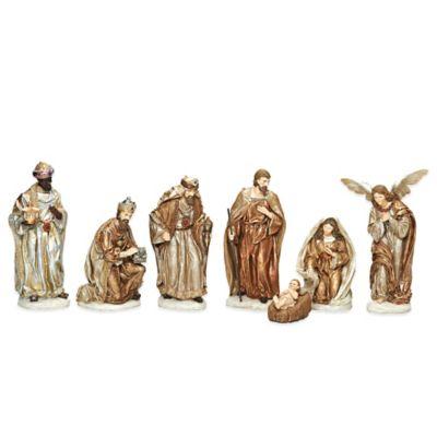 Roman 7-Piece Gold Finish Nativity Set