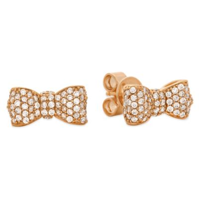CRISLU Rose Gold-Finished Sterling Silver Cubic Zirconia Puffy Bow Earrings