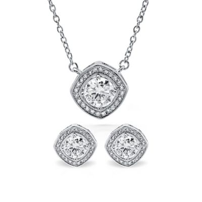 CRISLU Platinum-Plated Sterling Silver Cubic Zirconia Halo Pendant Necklace and Earrings Set
