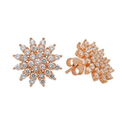 CRISLU Rose Gold-Plated Sterling Silver Cubic Zirconia Star Stud Earrings