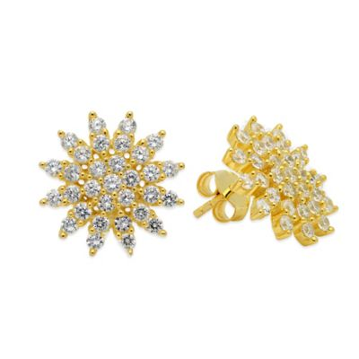 CRISLU 18K Yellow Gold-Plated Sterling Silver Cubic Zirconia Star Stud Earrings