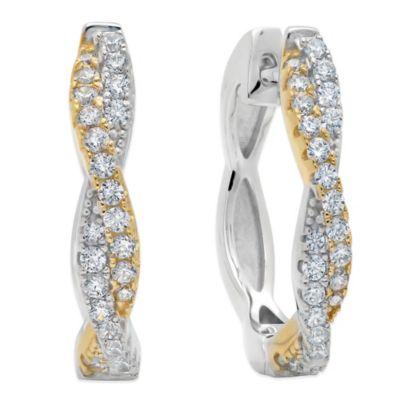 CRISLU Yellow Gold and Sterling Silver Cubic Zirconia Twist Hoop Earrings