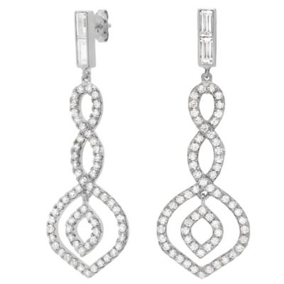CRISLU Platinum-Finished Sterling Silver Cubic Zirconia Twist Drop Earrings