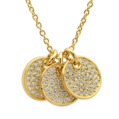 CRISLU 18K Yellow Gold-Finished Sterling Silver Triple Drop Pave Cubic Zirconia Pendant Necklace