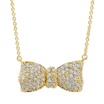 CRISLU Yellow Gold-Finished Sterling Silver Cubic Zirconia Puffy Bow Pendant Necklace