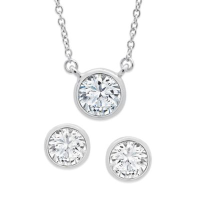 CRISLU 18K Yellow Gold-Finished Sterling Silver Cubic Zirconia Splash Necklace and Earring Set