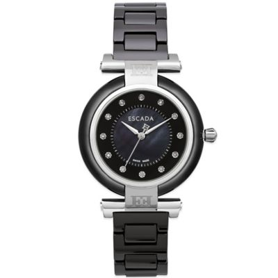 ESCADA Lauren Ladies' 36mm Watch in Black Ceramic with Mother of Pearl/Diamond Dial