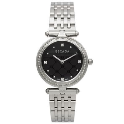 ESCADA Vanessa Ladies' 34mm Diamond Accent Watch in Stainless Steel with Black Embelm Dial