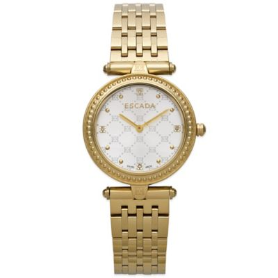 ESCADA Vanessa Ladies' 34mm Diamond Accent Watch in Ion-Plated Gold Stainless Steel with White Dial