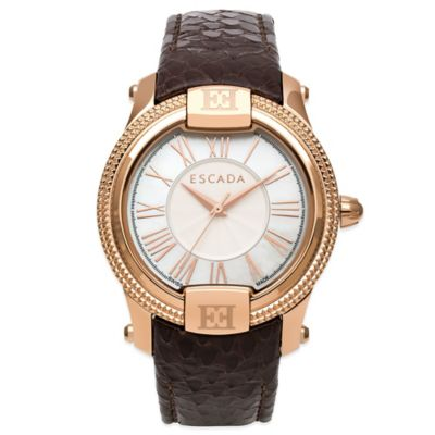 ESCADA Madeline Ladies' 38MM Watch in Ion-Plated Rose Gold Stainless Steel with Brown Leather Strap