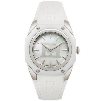 ESCADA Ladies' 38mm Naomi Emblem Watch in Stainless Steel/White Ceramic with White Silicone Strap