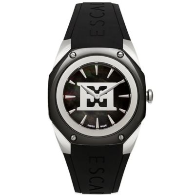 ESCADA Ladies' 38mm Naomi Emblem Watch in Stainless Steel/Black Ceramic with Black Silicone Strap