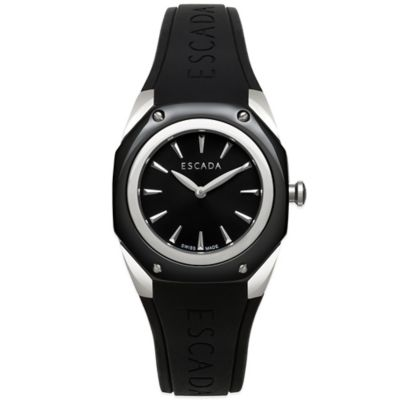 ESCADA Ladies' 34mm Naomi Watch in Stainless Steel/Black Ceramic with Black Silicone Strap