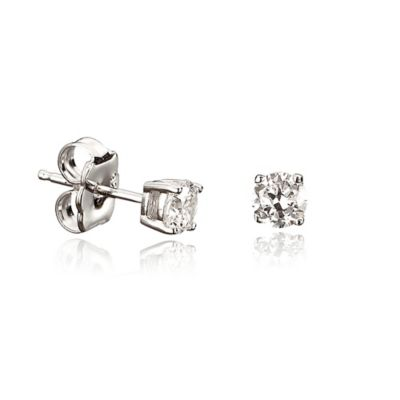 CRISLU® Sterling Silver 9mm Round Cubic Zirconia Stud Earrings