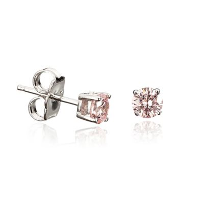 Crislu Platinum Finished Sterling Silver 9mm 1 cttw Pink Cubic Zirconia Stud Earrings