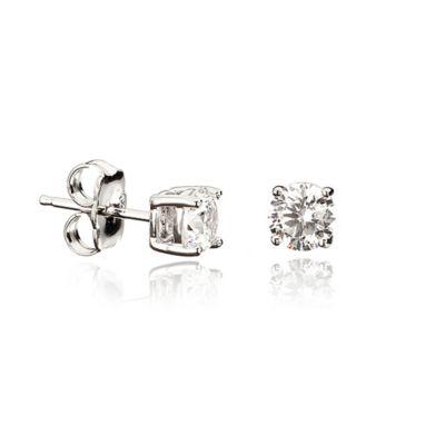CRISLU® Sterling Silver 9mm 1 cttw Round Cubic Zirconia Stud Earrings