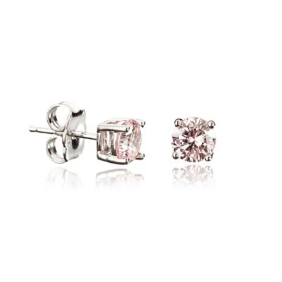Crislu Platinum Finished Sterling Silver 9mm Pink Cubic Zirconia Stud Earrings