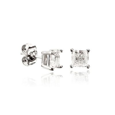 CRISLU® Sterling Silver 9mm 1 cttw Square Cubic Zirconia Stud Earrings