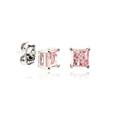 Crislu Platinum Finished Sterling Silver 9mm Pink Cubic Zirconia Square Stud Earrings