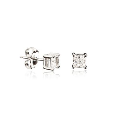 CRISLU® Sterling Silver 9mm Square Cubic Zirconia Stud Earrings