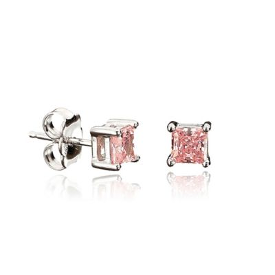 Crislu Platinum Finished Sterling Silver 9mm Square Pink Cubic Zirconia Stud Earrings