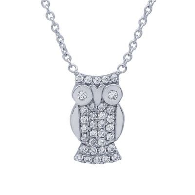 Crislu Platinum Finish Sterling Silver Cubic Zirconia Owl Pendant Necklace