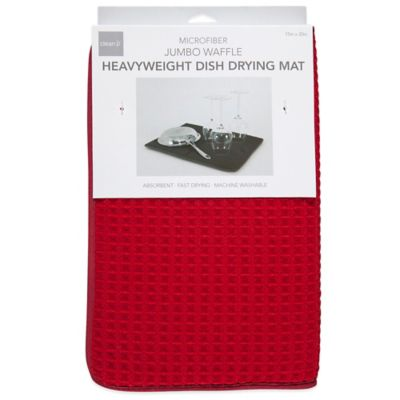 Deluxe Waffle Dish Drying Mats in Red (Set of 2)