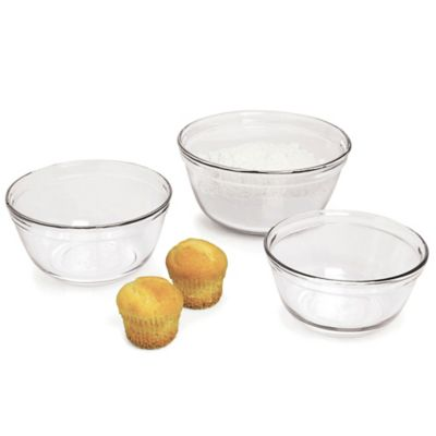 Anchor Hocking® 3-Piece Clear Glass Mixing Bowl Set