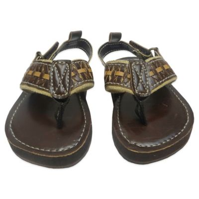 Rising Star Size 3-6M Braided Thong Sandal in Brown