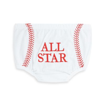 "Little Rugged by Ruffle Butts Size 6-12M ""All Star"" Bloomer in White"