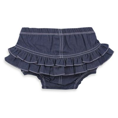 Ruffy Rumps Size 6-12M Ruffle Diaper Cover in Blue Denim