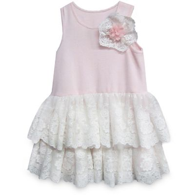 Pippa & Julie™ Size 2T Lace Tiered Tank Dress in White/Pink