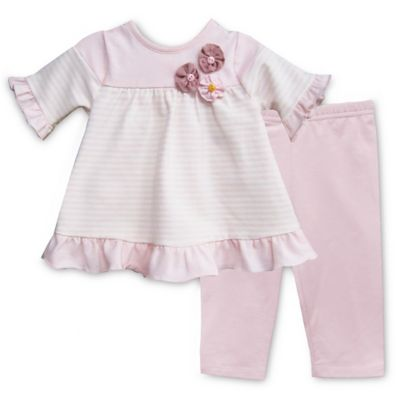 Pippa & Julie™ Size 6M Pink Striped 2-Piece Short Sleeve Tunic and Legging Set
