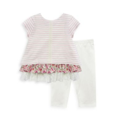 Pippa & Julie™ Size 2T 2-Piece Short Sleeve Ruffled Top and Legging Set in Pink/Ivory