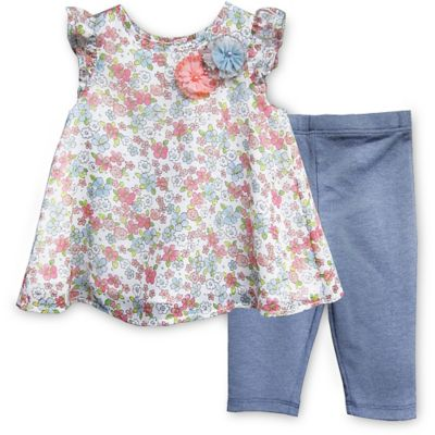 Pippa & Julie™ Size 18M Chiffon Floral 2-Piece Short Sleeve Tunic and Legging Set