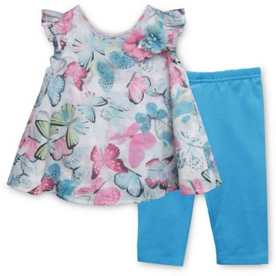 Pippa & Julie™ Size 9M Butterfly 2-Piece Short Sleeve Tunic and Legging Set in Turquoise