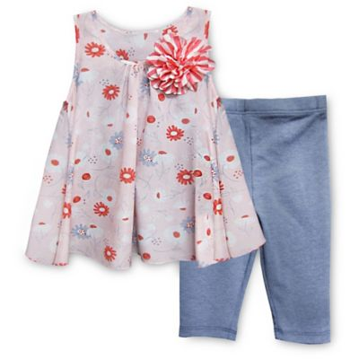Pippa & Julie™ Size 2T 2-Piece Floral Flyaway Tunic and Legging Set in Pink