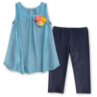 Pippa & Julie™ Size 18M 2-Piece Floral Flyaway Tunic and Legging Set in Blue