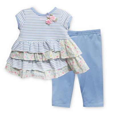 Pippa & Julie™ Size 6M Blue Floral 2-Piece Short Sleeve Tunic and Legging Set