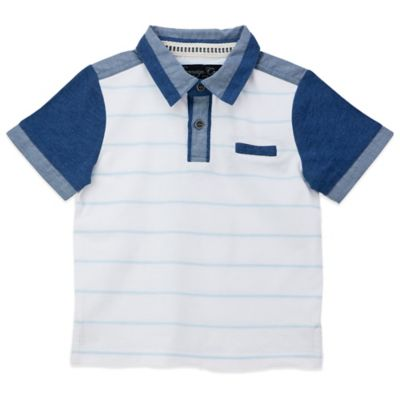 Sovereign Code™ Size 6-9M Linder Short Sleeve Polo Shirt in White/Blue Stripe